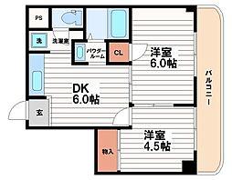 エクセルハイム川富[4階]の間取り