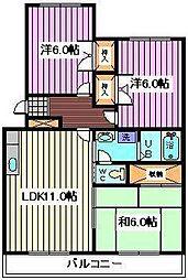 埼玉県さいたま市桜区西堀5丁目の賃貸マンションの間取り