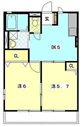 サンコートヴィラD[1階]の間取り