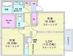 JR仙山線 愛子駅 徒歩15分の賃貸アパート 2階2LDKの間取り