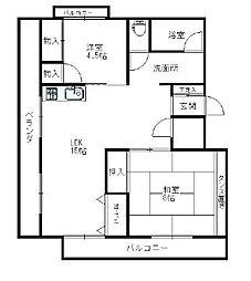 コーポ・ビークル[4階]の間取り