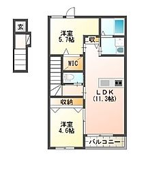 仮)狭山市東三ツ木新築アパート[2階]の間取り