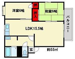 メルベーユ60[2階]の間取り