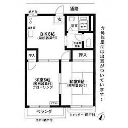 フラット中央[2階]の間取り