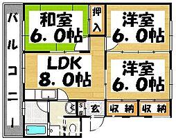 福岡県春日市昇町3丁目の賃貸マンションの間取り