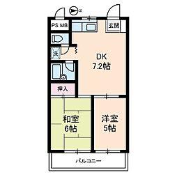 三桃マンション[0303号室]の間取り