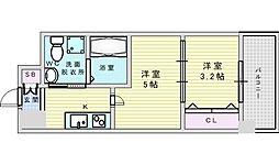 Osaka Metro御堂筋線 江坂駅 徒歩7分の賃貸マンション 7階2Kの間取り