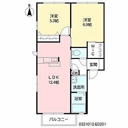 ヴィサージュ本城 E棟[2階]の間取り