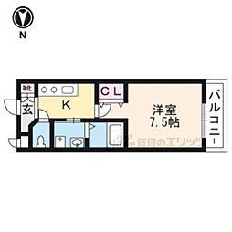 京阪本線 神宮丸太町駅 徒歩6分の賃貸マンション 1階1Kの間取り
