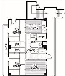 ビレッジハウス亀井野 3号棟[403号室]の間取り