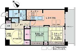 神奈川県横浜市鶴見区市場下町の賃貸マンションの間取り