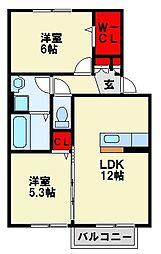 ウィットエブリ D棟[2階]の間取り