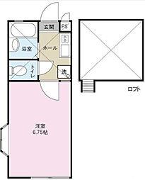 神奈川県大和市中央林間6の賃貸アパートの間取り