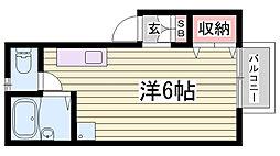 兵庫県加古川市野口町二屋の賃貸アパートの間取り