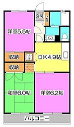 東京都練馬区高野台3丁目の賃貸マンションの間取り