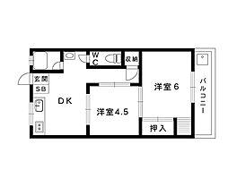 JR東海道本線 甲南山手駅 4階建[403号室]の間取り