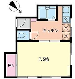 神奈川県横浜市神奈川区二ツ谷町の賃貸アパートの間取り