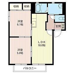 メイプルハイツ C[2階]の間取り