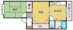 大阪府茨木市大池1丁目の賃貸アパートの間取り