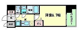 Osaka Metro谷町線 谷町四丁目駅 徒歩5分の賃貸マンション 5階1Kの間取り
