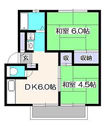 シノシンハイツ3号棟[1階]の間取り