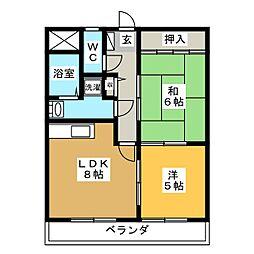 マンションベルエア[3階]の間取り