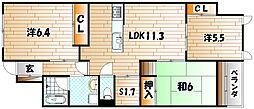 ココガモ&壺壺蒲生[4階]の間取り
