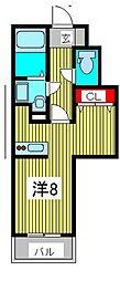 CROSS COURT NAKA-AOKI 1階1SKの間取り