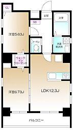 仮)南麻布2丁目プロジェクト 5階2LDKの間取り