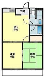 愛知県岡崎市洞町字的場の賃貸アパートの間取り