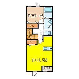 S様アパートII期新築工事 2階1DKの間取り