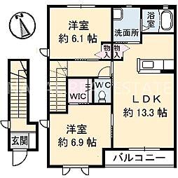 シャーメゾン霧ヶ峰 B[201号室]の間取り