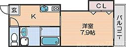 Osaka Metro四つ橋線 花園町駅 徒歩5分の賃貸マンション 3階1Kの間取り