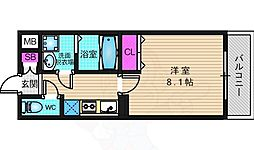 アドバンス京都アリビオ 4階1Kの間取り