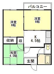 三重県津市下弁財町津興の賃貸アパートの間取り
