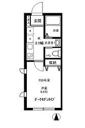 神奈川県川崎市多摩区三田3丁目の賃貸アパートの間取り