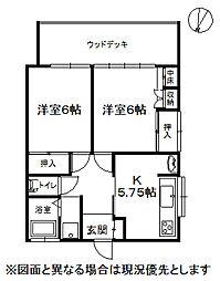 長野県諏訪市清水1丁目の賃貸アパートの間取り