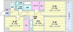 リュウセイマンション 4階3DKの間取り