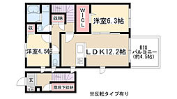 0357.コンフォート引山南[2階]の間取り