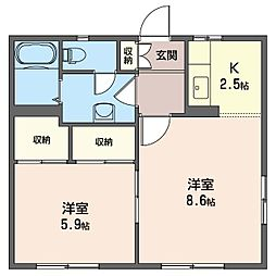 ビエリードーム[1階]の間取り