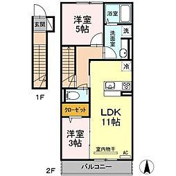 福岡県北九州市小倉南区横代北町3丁目の賃貸アパートの間取り