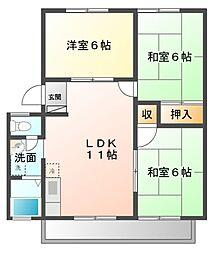 サニーハイツI[1階]の間取り