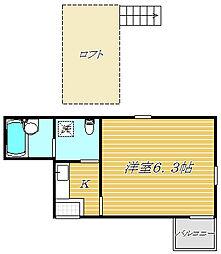 東京都墨田区京島3丁目の賃貸アパートの間取り