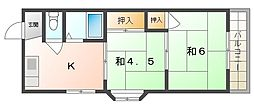 Mプラザ竜田通 4階2Kの間取り