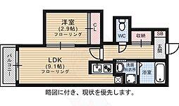 福岡市地下鉄箱崎線 箱崎九大前駅 徒歩9分の賃貸アパート 1階1LDKの間取り