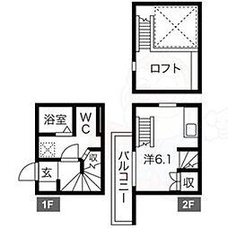 名鉄常滑線 柴田駅 徒歩9分の賃貸アパート 1階1Kの間取り