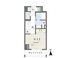 東京メトロ日比谷線 八丁堀駅 徒歩3分の賃貸マンション 4階1Kの間取り