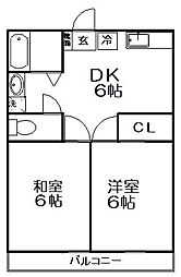 東京都練馬区下石神井2丁目の賃貸アパートの間取り