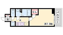 エスリード神戸ハーバーテラス 10階1Kの間取り