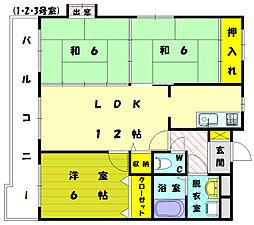 福岡県福岡市東区奈多1丁目の賃貸マンションの間取り